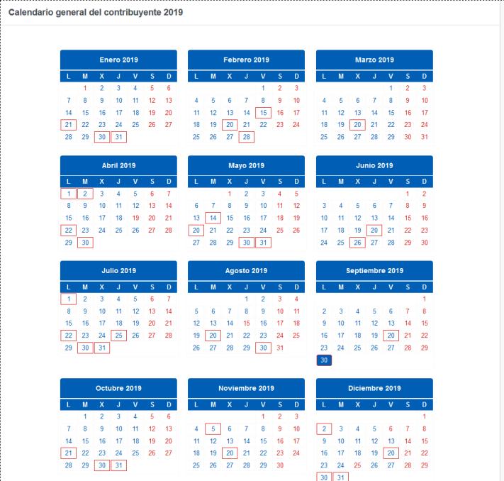 Calendario general del contribuyente 2019 Agencia Tributaria